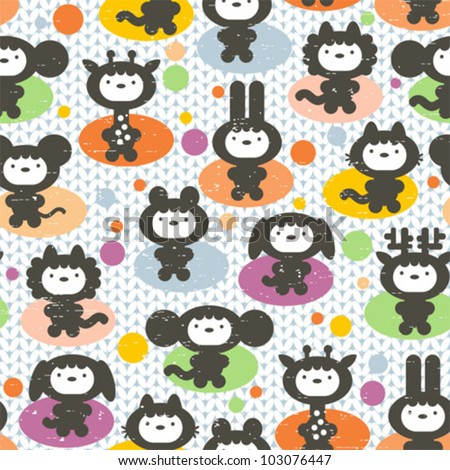 Cute animals seamless pattern. Vector textured illustration.