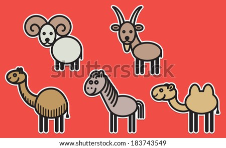 Cute animals set from typical domestic cloven-hoofed animals - stock vector