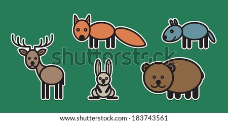 Cute animals set from typical European forest animals - stock vector