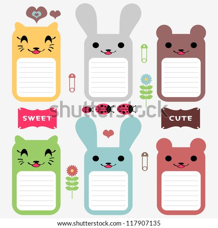 Cute animals set of scrapbook elements - stock vector