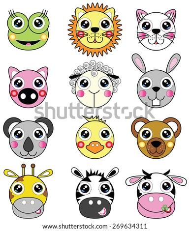 Cute animals such as frog, lion, cat, pig, sheep, bunny, koala bear, chick, bear, giraffe, zebra, cow,   - stock vector