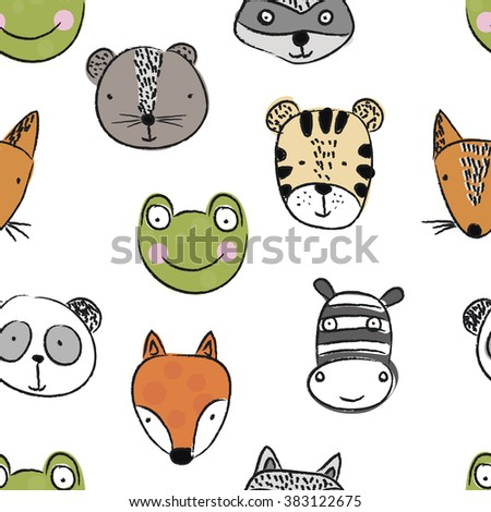 cute animals vector art background design for fabric and decor