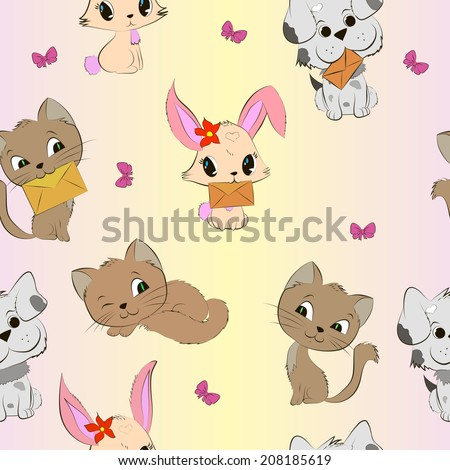 Cute animals vector seamless pattern. With cats, dogs and bunnies. - stock vector