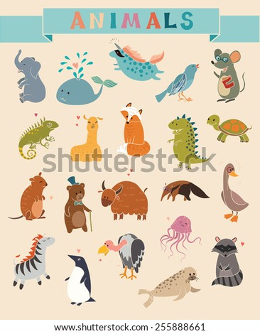 Cute Animals vector set. Hand-drawn style. Stickers, posters, background - stock vector