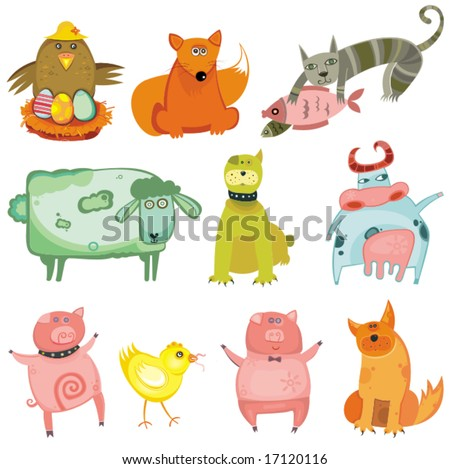 Cute animals- vector set. To see similar, please VISIT MY GALLERY. - stock vector