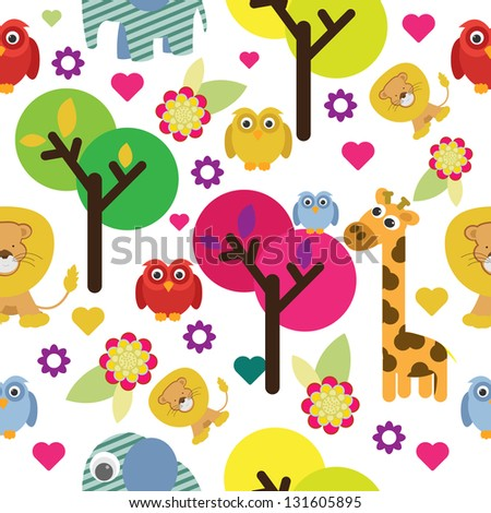 cute animals with tree seamless pattern - stock vector