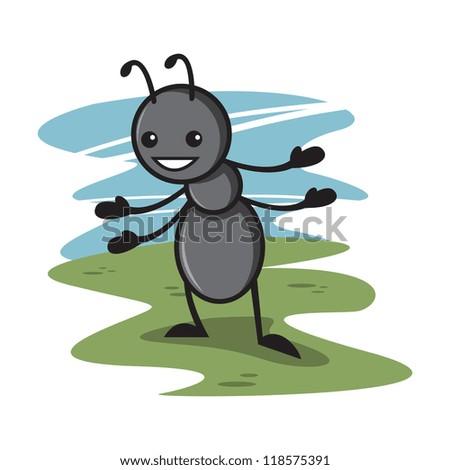 Cute Ant Logo Cute Ant Cartoon 4 Stock