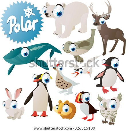 cute arctic antarctic pole animals and birds for children apps or books: whale, polar bear, seal, deer, grouse, tern, penguin, puffin, hare, lemming and owl - stock vector