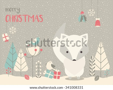 Cute Arctic Christmas baby fox surrounded with floral decoration, vector illustration - stock vector