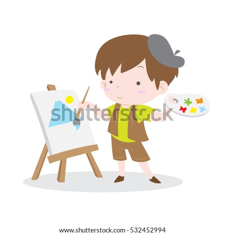 cute artist kid painting scenery in canvas vector stock - Picture For Kid Painting