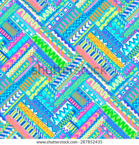 cute artistic zigzag tile ~ seamless background - stock vector