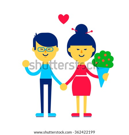 Cute asian couple holding hands. Love concept. Happy Valentine's day greeting card, poster or banner. Flat illustration. Vector stock.