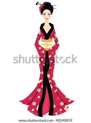 Cute Asian Girl Character on scarlet kimono - stock vector