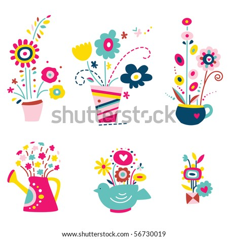 Cute assortment of flowers in vases with various shapes, teapot, watering can. - stock vector