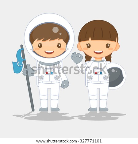 Cute astronaut, vector illustration - stock vector