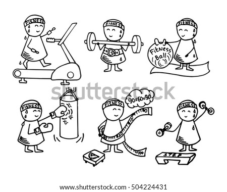 Cute athletes icons. Health, fitness, sport training  - doodles set. Vector funny background.