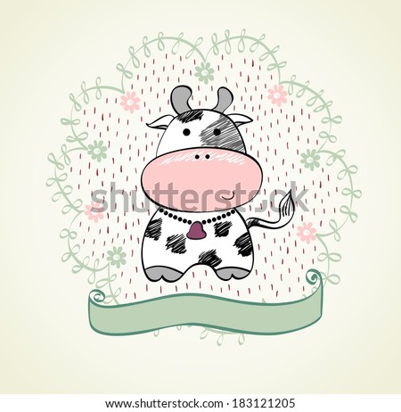 Cute babies hand draw card  with cow - stock vector