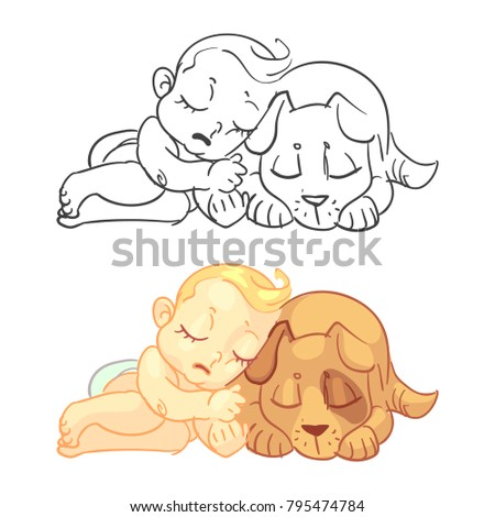 Cute Baby Dog Coloring Page Colorful Stock Vektorgrafik Lizenzfrei