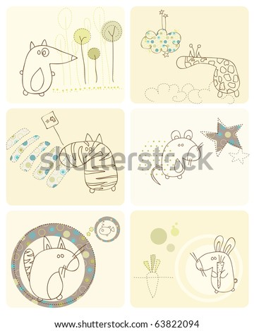 Cute Baby Animals Set of Cards - stock vector