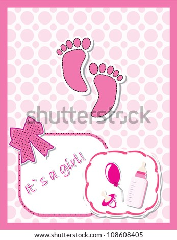 Cute baby arrival card with footprint/Vector illustration