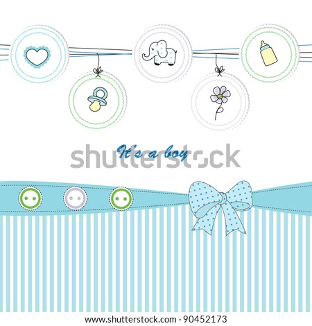 Cute baby background on birthday or shower - stock vector
