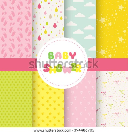 Cute Baby Background. Seamless Pattern. Vector Background. Colorful Background.