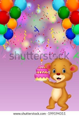 Cute baby bear holding birthday cake - stock vector