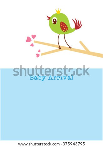 cute baby bird arrival greeting card