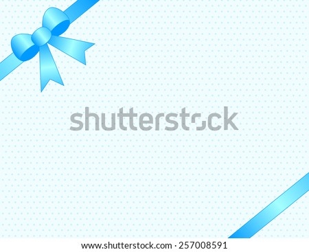 Cute baby boy arrival card /party invitation background with blue satin ribbon bow on corners - stock vector