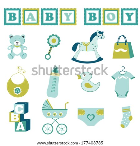 Cute baby boy  graphic elements collection - stock vector