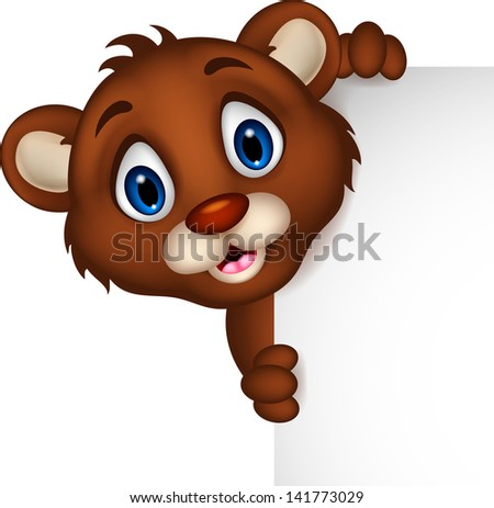 cute baby brown bear cartoon posing with blank sign - stock vector