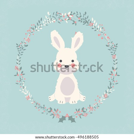 Cute baby bunny rabbit in Christmas flower and branch wreath, vector illustration