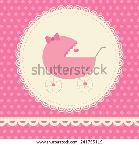 Cute baby card with pink pram. Ideal for baby shower invitation card, birthday card, etc. - stock vector