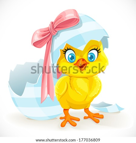 Cute baby chick just hatched from an Easter egg - stock vector