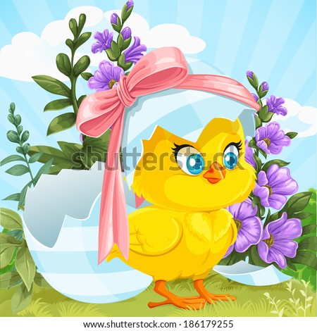 Cute baby chick just hatched from an Easter egg on a green lawn with flowers - stock vector