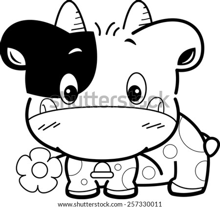 Cute baby cow cartoon with flower outlined vector.