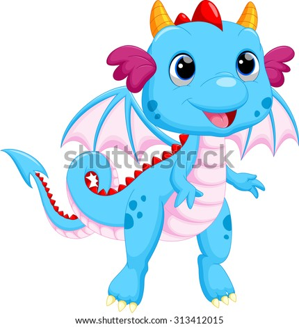 Cute baby dragon cartoon - stock vector