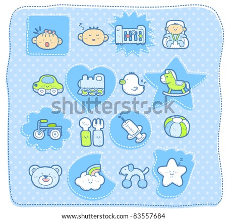 cute baby elements. vector illustration - stock vector