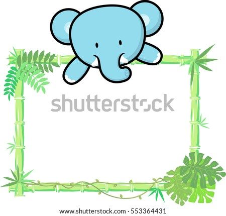 Cute Baby Elephant On Blank Board Stock Vector 553364431 - Shutterstock