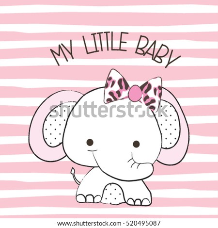 Cute baby elephant on striped background stock vector 520495087 cute baby elephant on striped background t shirt graphics for kids vector illustration voltagebd Images