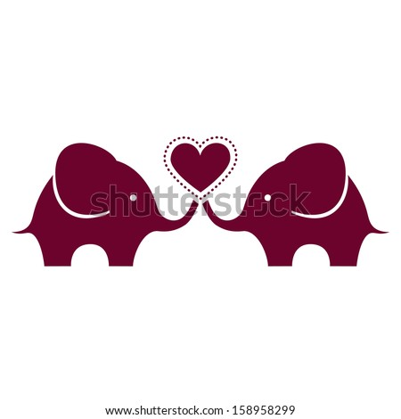 Cute baby elephants with heart - stock vector
