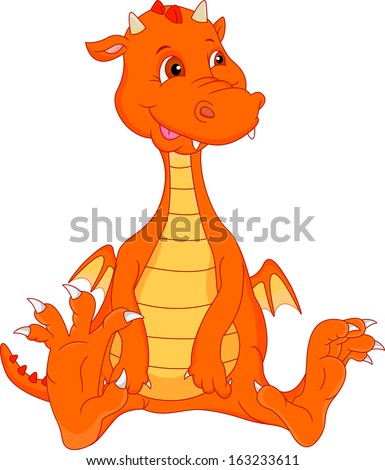 cute baby fire dragon cartoon - stock vector