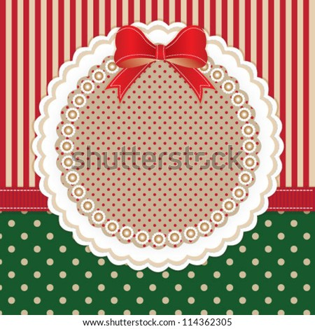 Cute baby frame design with red bow for xmas card - stock vector