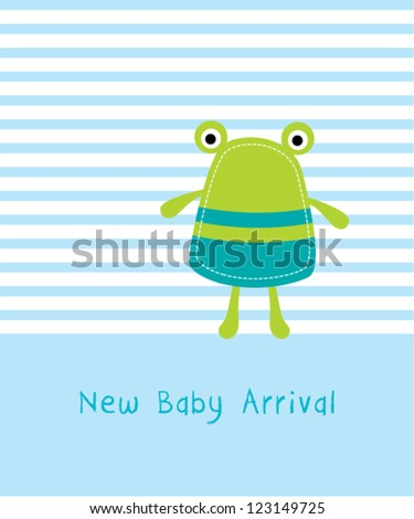 cute baby frog arrival - stock vector