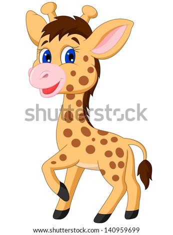 Cute baby giraffe cartoon - stock vector