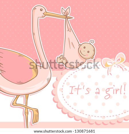 Cute baby girl announcement card with stork and child on polka dot pink background - stock vector