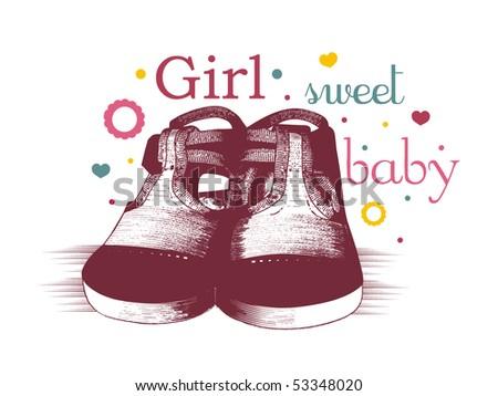 cute baby girl design - stock vector