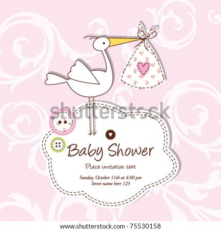 Cute Baby girl shower card with stylish floral background Simple unique design for greeting card, birthday invitation, scrapbook project, baby shower projects Hand drawn illustration template - stock vector
