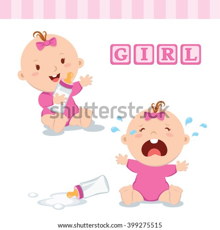 Cute baby girl with milk bottle. Vector illustration of a baby girl holding milk bottle and crying with bottle milk. - stock vector