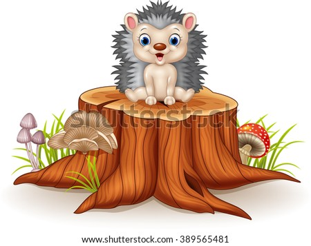 Cute baby hedgehog sitting on tree stump - stock vector